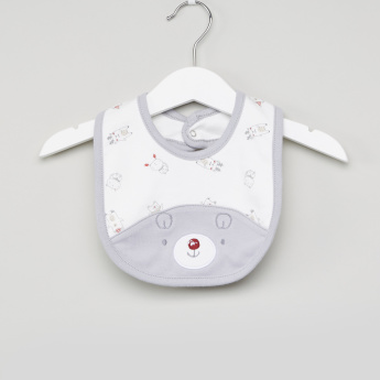 Juniors Bear Face Applique Bib with Snap Button Closure