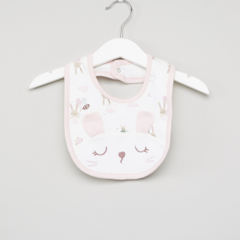 Juniors Bunny Ear Applique Bib with Snap Button Closure