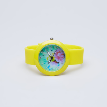 Charmz Floral Printed and Embellished Analog Wristwatch