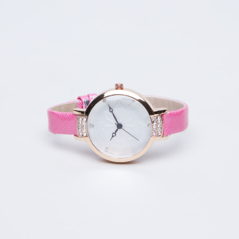 Charmz Crystal Detail Wristwatch with Pin Buckle