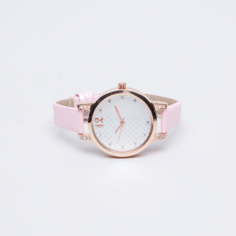 Charmz Crystal Detail Watch with Pin Buckle Closure