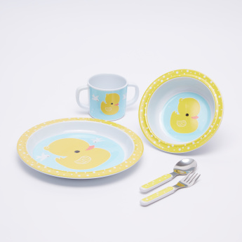 A Little Lovely Company Duck Printed 5-Piece Dinner Set