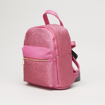Charmz Solid Backpack with Glitter Detail