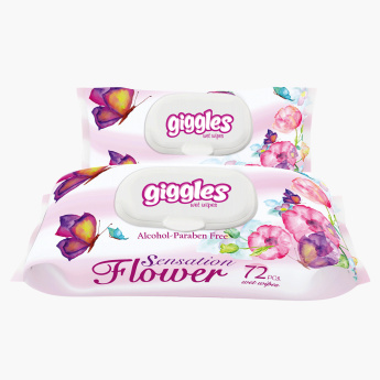 Giggles Flower Sensation 72-Piece Baby Wet Wipes