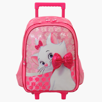 Marie Printed Trolley Backpack with Bow Detail and Zip Closure