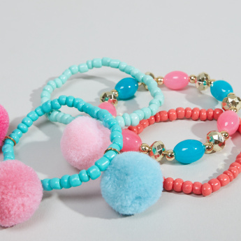 Charmz Beaded Bracelets with Pom Poms – Set of 4