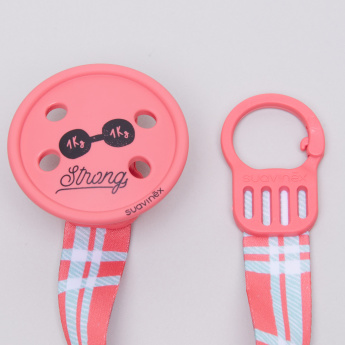 Suavinex Button Soother Clip with Printed Strap