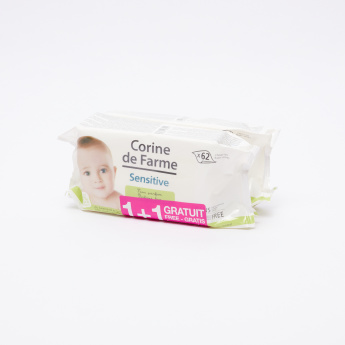 Corine de Farme 62-Piece Baby Sensitive Wipes - Buy 1 Get 1 Free