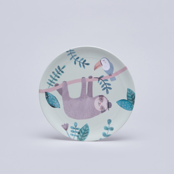 Petit Monkey Sloth Printed Round Plate