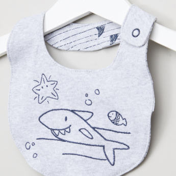 Juniors Whale Embroidered Bib with Press Button Closure