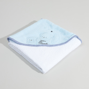 Juniors Cotton Hooded Towel with Applique - 80x80 cms