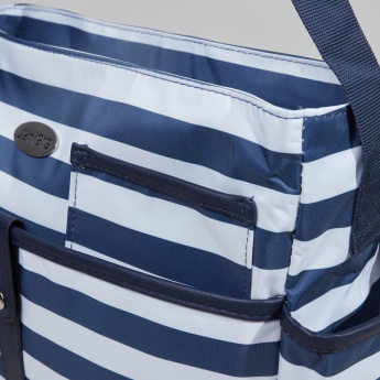 Juniors Striped Diaper Bag with Zip Closure