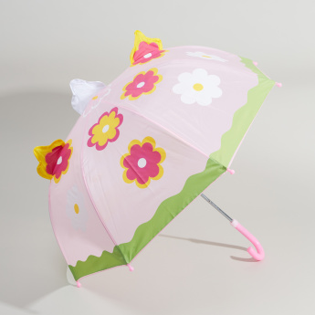 Floral Printed Umbrella with Crook Handle