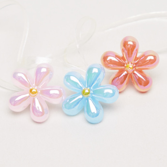 Charmz Flower Applique Detail Hair Tie - Set of 3