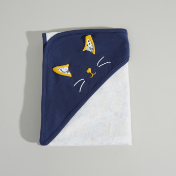 Juniors Cat Embroidered Receiving Blanket with Hood - 81x81 cms