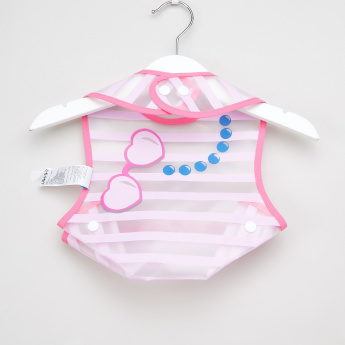 Juniors Striped Bib with Food Pocket and Snap Button Closure