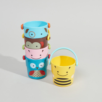 SkipHop Printed Zoo Stack and Pour Bucket - Set of 5