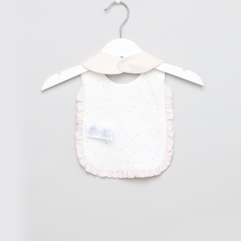Juniors Applique and Ruffle Detail Bib with Press Button Closure