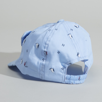 Juniors Printed Cap with Embroidery and Ear Accents