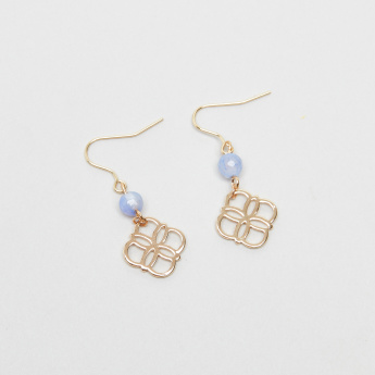 Charmz Metallic Hook Earrings with Bead Detail
