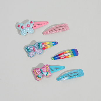 Charmz Printed and Applique Detail Hair Clip - Set of 6