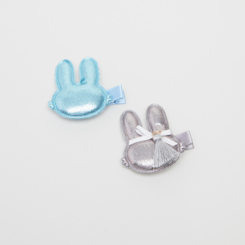 Charmz Bunny Applique Detail Hairpin - Set of 2