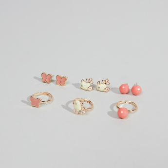 Charmz 9-Piece Earrings and Finger Ring Set