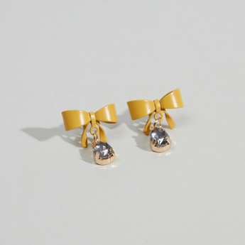 Charmz Bow Design Earrings with Studded Detail and Pushback Closure