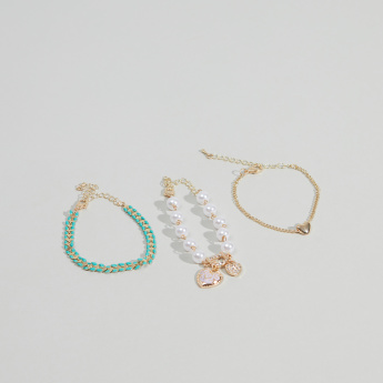 Charmz Embellished Bracelet with Lobster Clasp - Set of 3