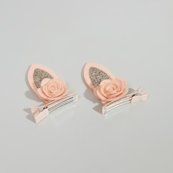 Charmz Floral Embellished Hair Clips with Glitter Detail - Set of 2