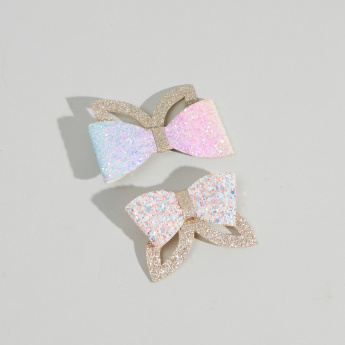 Charmz Glitter Hair Clip with Bow Detail - Set of 2
