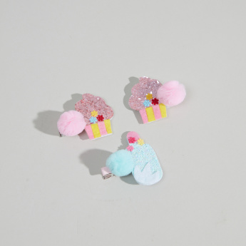 Charmz 3-Piece Cupcake and Popsicle Embellished Hairclips