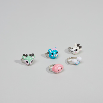 Charmz Applique Detail Finger Ring - Set of 5