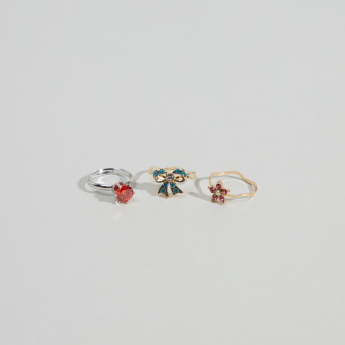 Charmz Studded Finger Rings - Set of 3