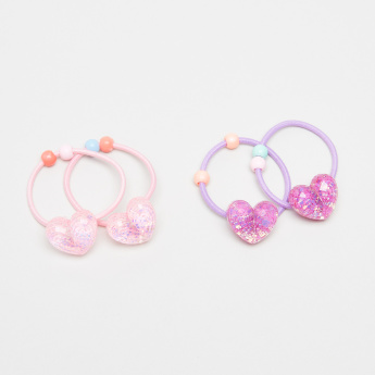 Charmz Applique and Beaded Detail Hair Tie - Set of 4