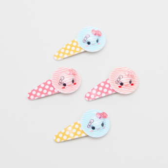 Charmz Polka Dots Printed Hair Clip with Hat Detail - Set of 4