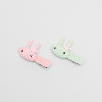 Charmz Polka-Dot Bunny Embellished Hair Clips - Set Of 2