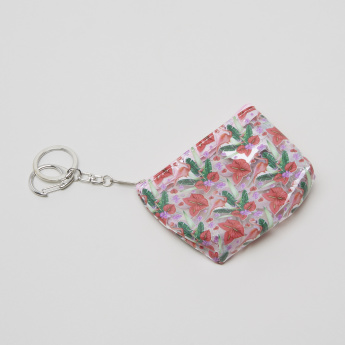 Charmz Printed Coin Purse with Zip Closure and Lobster Clasp Keychain