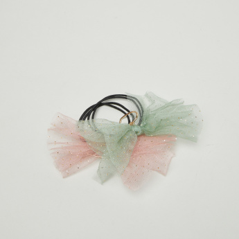 Charmz Bow Applique Hair Tie - Set of 2