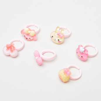 Charmz 6-Piece Applique Detail Finger Ring Set