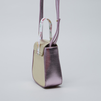 Charmz Colourblock Textured Sling Bag with Contrast Strap