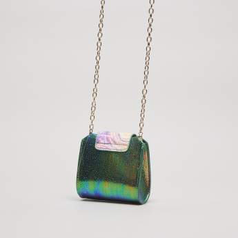 Charmz Textured Glossy Sling Bag with Chain Strap