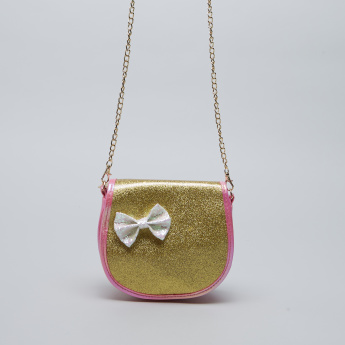 Charmz Sling Bag with Glitter Finish and Bow Accent