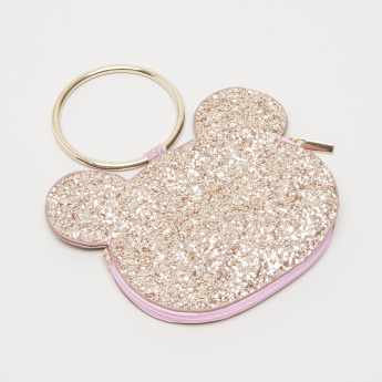 Charmz Glitter Bear Face Shaped Coin Pouch with Round Top Handle