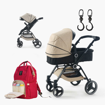 Teknum 3-in-1 V8 Stroller with Sunveno Diaper Bag and Stroller Hooks