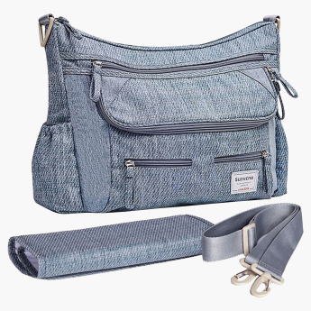 Sunveno Textured Messenger Style Diaper Bag Bundle Offer