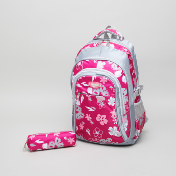 SamBox Floral Printed Backpack with Pencil Pouch