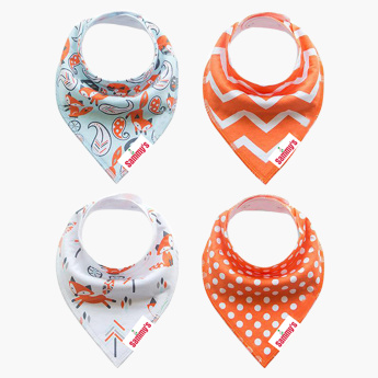 Eazy Kids Fox Strips Printed Organic Bandana Bibs - Set of 4