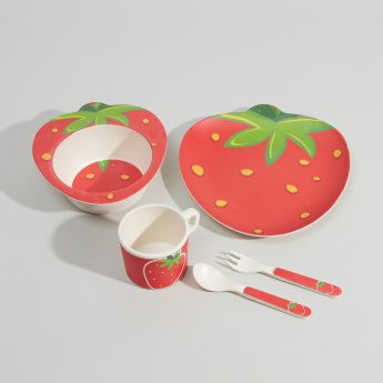 BAMBOOWARE Strawberry Printed 5-Piece Dinner Set