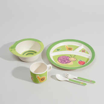BAMBOOWARE Printed 5-Piece Dinner Set
